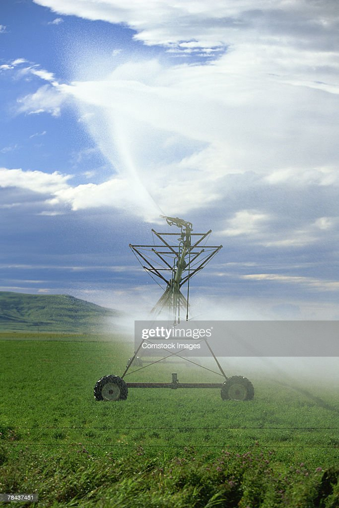 Irrigation system in a field : Stock Photo