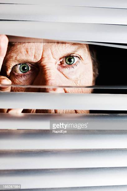 Irritated old woman looks though blinds angrily