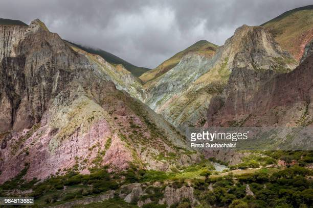 stone mountains in the village of iruya, northern argentina - salta argentina stock photos and pictures