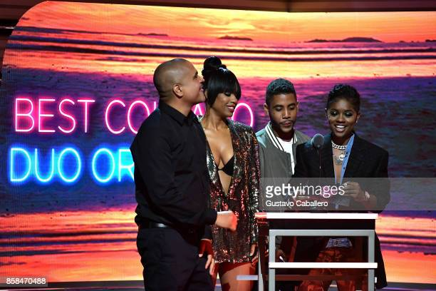 Irv Gotti Michelle Mitchenor Jharrel Jerome and BreZ present the Best Collabo Duo or Group award onstage during the BET Hip Hop Awards 2017 at The...