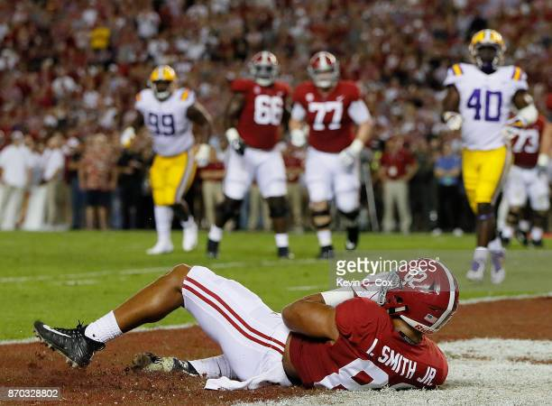 Irv Smith Jr #82 of the Alabama Crimson Tide pulls in touchdown reception against the LSU Tigers at BryantDenny Stadium on November 4 2017 in...