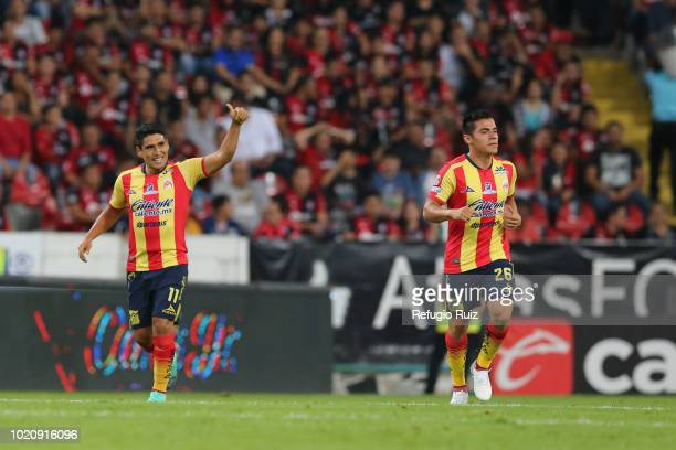 Irven Avila of Morelia celebrates after scoring his team's first goal during the fifth round match between Atlas and Morelia as part of the Torneo...