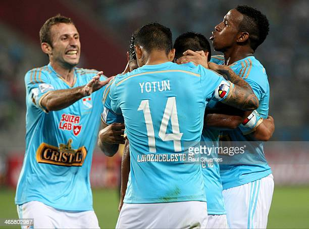 Irven Avila of Sporting Cristal celebrates a scored goal against Atletico PR as part of the Copa Bridgestone Libertadores 2014 at Nacional Stadium on...