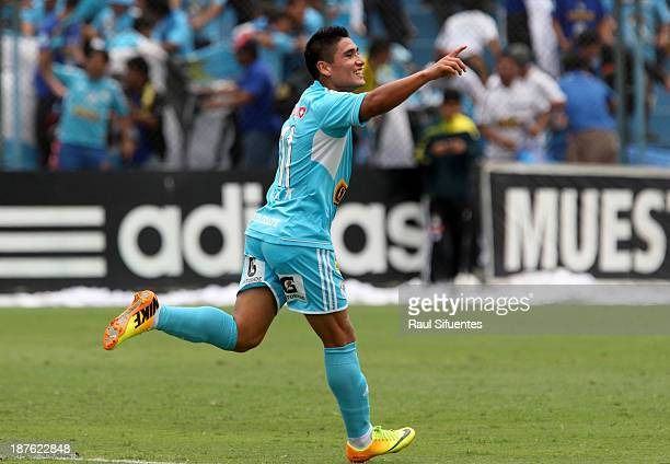 Irven Avila of Sporting Cristal celebrates a scored goal against Real Garcilaso during a match between Sporting Cristal and Real Garcilaso as part of...