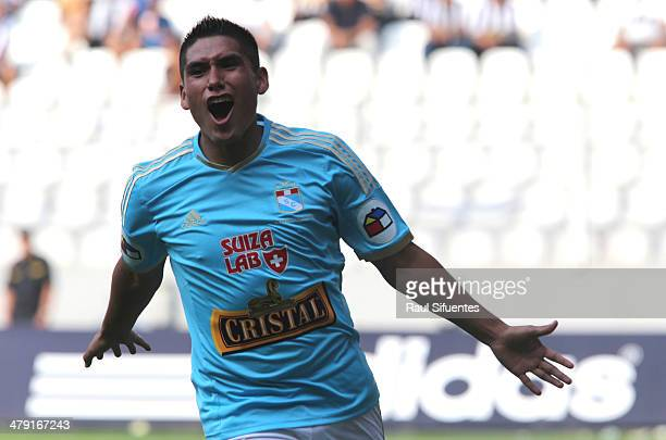 Irven Avila of Sporting Cristal celebrates after scoring his teams second goal during a match between Sporting Cristal and Alianza Lima as part of...