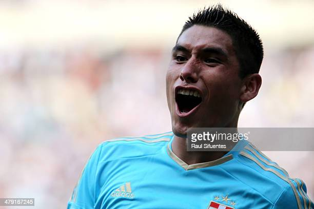 Irven Avila of Sporting Cristal celebrates after scoring his team's second goal during a match between Sporting Cristal and Alianza Lima as part of...