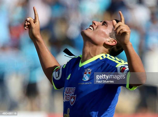 Irven Avila of Sporting Cristal celebrates after scoring the opening goal during a final first leg match between Juan Aurich and Sporting Cristal as...