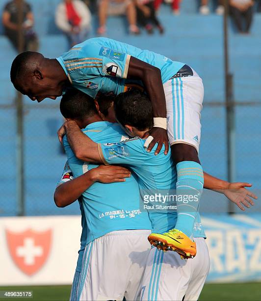 Irven Avila of Sporting Cristal celebrates with his teammates after scoring the opening goal during a match between Sporting Cristal and Juan Aurich...