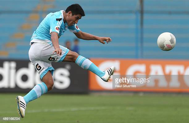 Irven Avila of Sporting Cristal takes a shot during a match between Sporting Cristal and Ayacucho FC as part of 5th round of Torneo Clausura 2015 at...