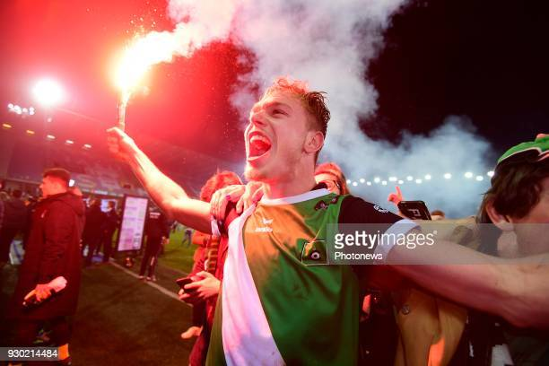 Irvin Cardona forward of Cercle Brugge celebrating the promotion to first division after winning during the Proximus League Final second leg match...