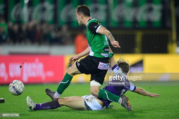 Irvin Cardona forward of Cercle Brugge is tackled by Jaren Dom of Beerschot Wilrijk during the Proximus League Final second leg match between Cercle...