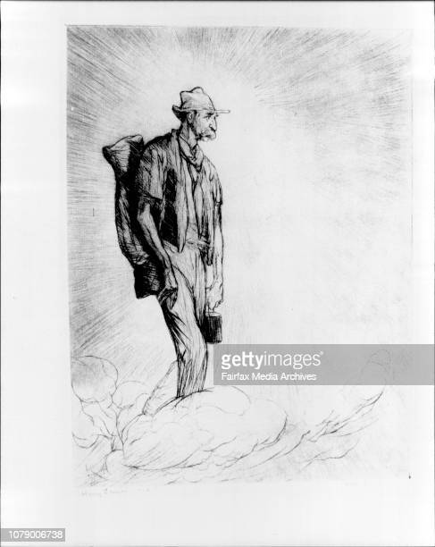 SH Irvin Gallery National Trust Centre Observatory HillWill Dyson Cartoons caricatures and prints 18801938Henry Lawson in Heaven 1928Drypoint33 X...