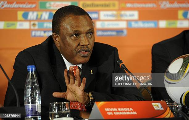 Irvin Khoza Chairman of the 2010 FIFA World Cup local Organising Committee talks during a press conference on June 1 2010 in Sandton Johannesburg The...