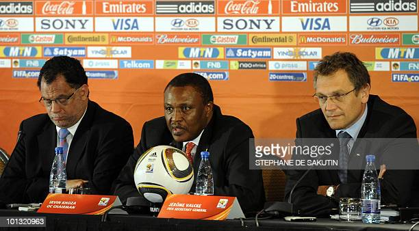 Irvin Khoza Chairman of the 2010 FIFA World Cup local Organising Committee flanked by Jérôme Valcke FIFA Secretary General and Danny Jordaan CEO of...