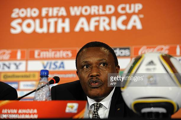 Irvin Khoza Chairman of the 2010 FIFA World Cup local Organising Committee talks to the media during a press conference on April 8 2010 in Sandton...