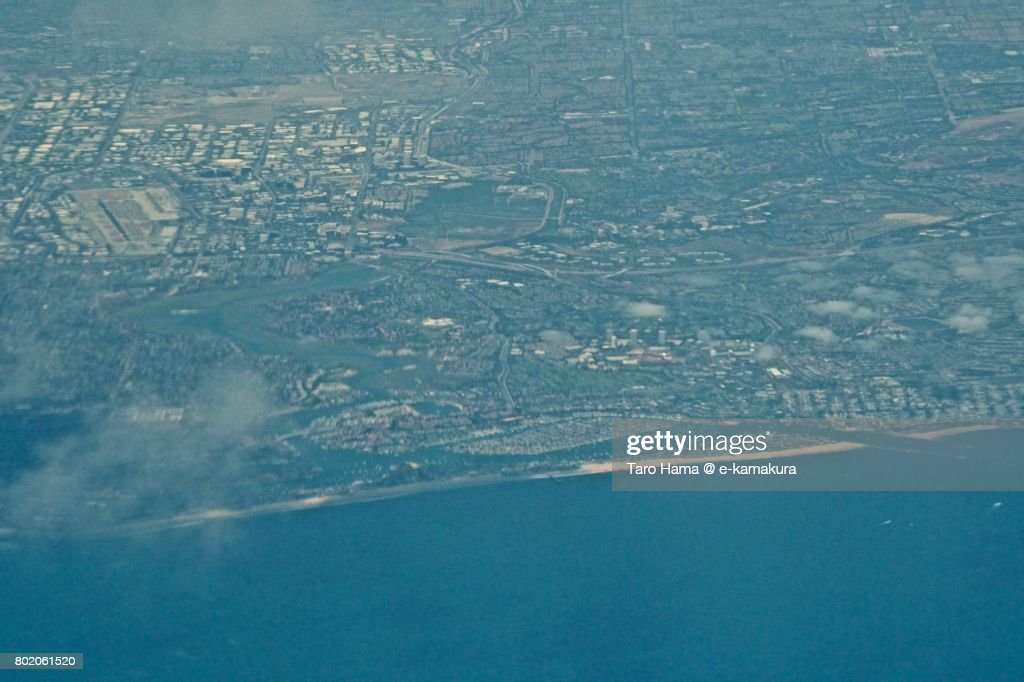 Irvine and Newport Beach area in California daytime aerial view from airplane : ストックフォト
