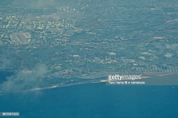 Irvine and Newport Beach area in California daytime aerial view from airplane
