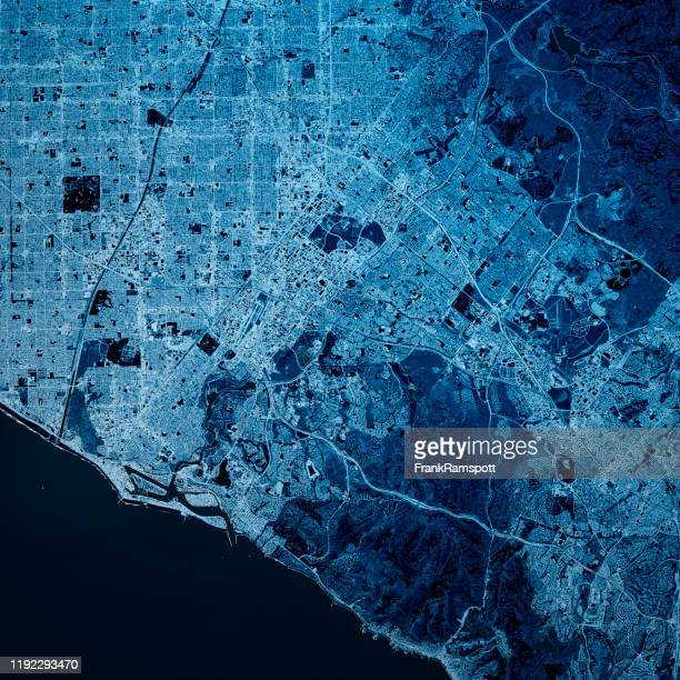 irvine california 3d render map blue top view oct 2019 - frank ramspott stock pictures, royalty-free photos & images