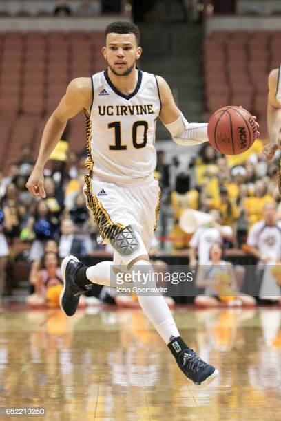 Irvine Guard Luke Nelson dribbles down court during a Big West Conference Semifinals Game between UC Irvine and Long Beach State on March 10 2017 at...