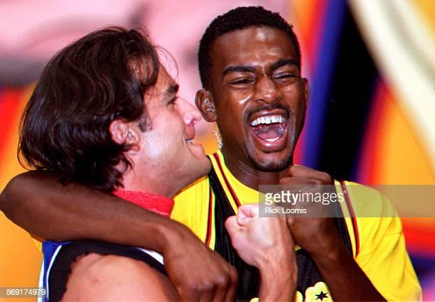 Irvine– MTV Sports VJ Dan Cortese and MTV Jams VJ Bill Bellamy ham for the cameras before the start of the Rock N' Jock basketball game held Saturday...