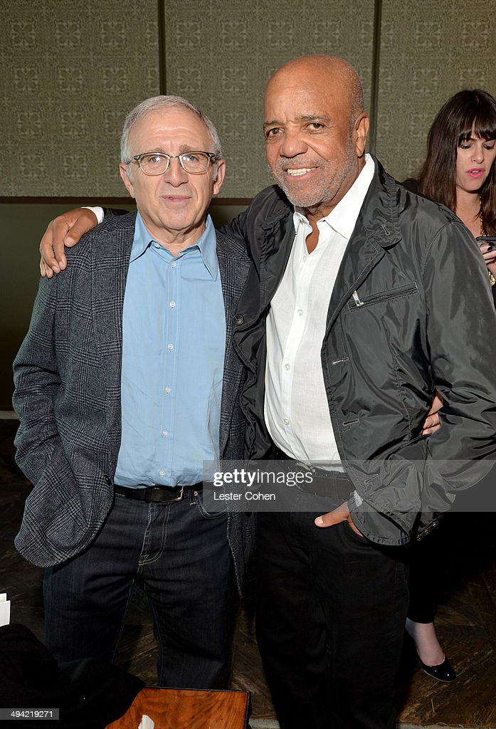 Irving Azoff (L) and founder of Motown Records Berry Gordy attend the Shelli And Irving Azoff & Ronald Perelman Party to celebrate the publication of Lisa Robinson's book 'There Goes Gravity: A Life in Rock And Roll' on May 28, 2014 in Los Angeles, California.