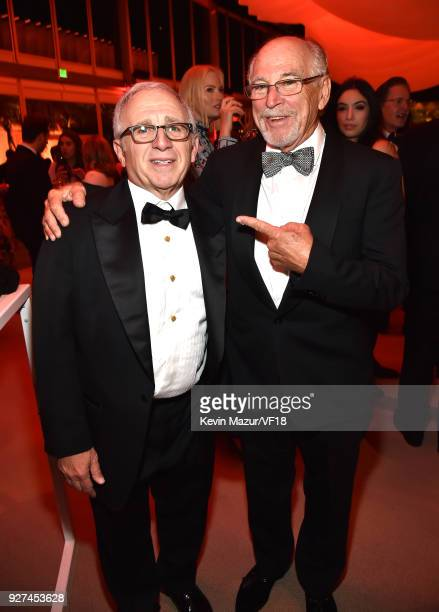 Irving Azoff and Jimmy Buffett attend the 2018 Vanity Fair Oscar Party hosted by Radhika Jones at Wallis Annenberg Center for the Performing Arts on...