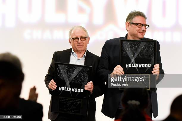 Irving Azoff and Lucian Grainge attend The Hollywood Chamber's 7th Annual State Of The Entertainment Industry Conference Presented By Variety at...