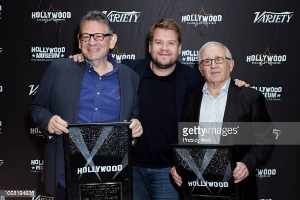 Irving Azoff James Corden and Lucian Grainge attend The Hollywood Chamber's 7th Annual State Of The Entertainment Industry Conference Presented By...