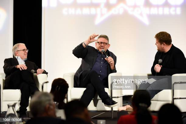 Irving Azoff Lucien Grange and James Corden attend The Hollywood Chamber's 7th Annual State Of The Entertainment Industry Conference Presented By...
