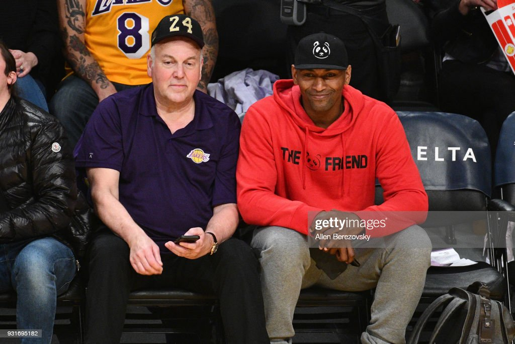 Irving Bauman and Metta World Peace attend a basketball game between the Los Angeles Lakers and the Denver Nuggets at Staples Center on March 13, 2018 in Los Angeles, California.