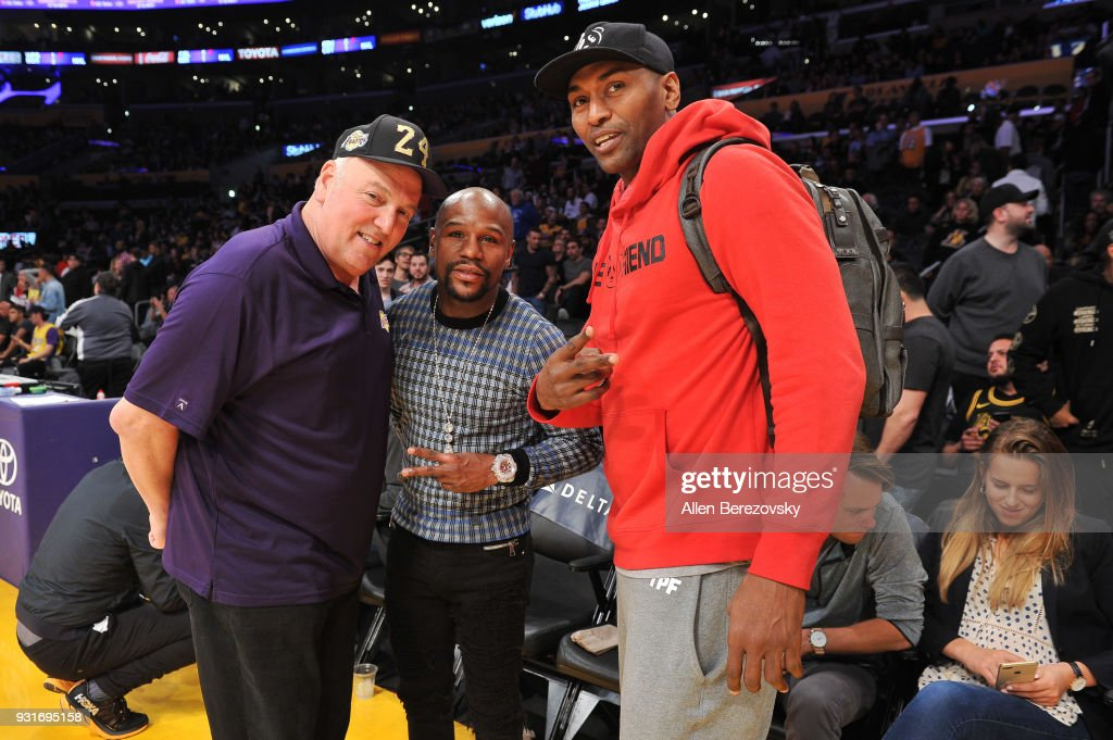Irving Bauman, Floyd Mayweather Jr. and Metta World Peace attend a basketball game between the Los Angeles Lakers and the Denver Nuggets at Staples Center on March 13, 2018 in Los Angeles, California.