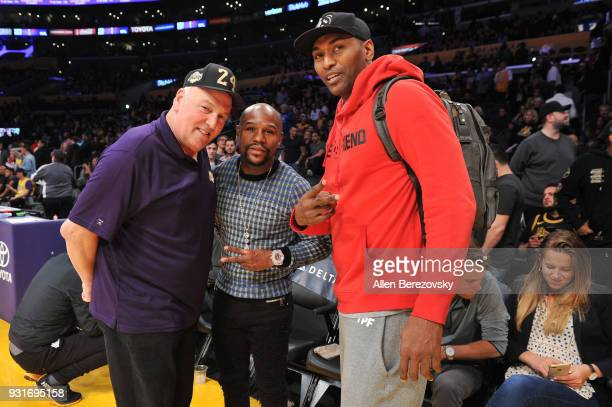 Irving Bauman Floyd Mayweather Jr and Metta World Peace attend a basketball game between the Los Angeles Lakers and the Denver Nuggets at Staples...