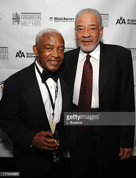 Irving Burgie and Bill Withers during 38th Annual Songwriters Hall of Fame Ceremony Cocktails and Backstage at Marriott Marquis in New York City New...
