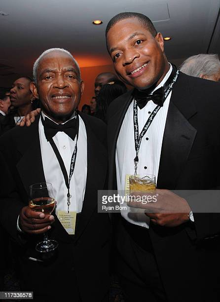 Irving Burgie and guest during 38th Annual Songwriters Hall of Fame Ceremony Cocktails and Backstage at Marriott Marquis in New York City New York...