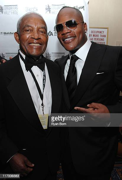 Irving Burgie and Sean Garrett during 38th Annual Songwriters Hall of Fame Ceremony Cocktails and Backstage at Marriott Marquis in New York City New...