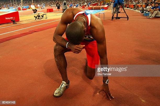 Irving Jahir Saladino Aranda of Panama celebrates winning the Men's Long Jump Final and the gold medal at the National Stadium on Day 10 of the...
