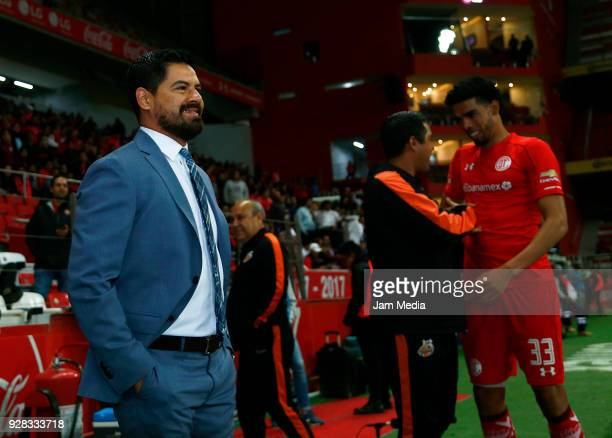 Irving Rubirosa Coach of Alebrijes smiles prior to the round of 16th match between Toluca and Alebrijes as part of the Copa MX Clausura 2018 at...