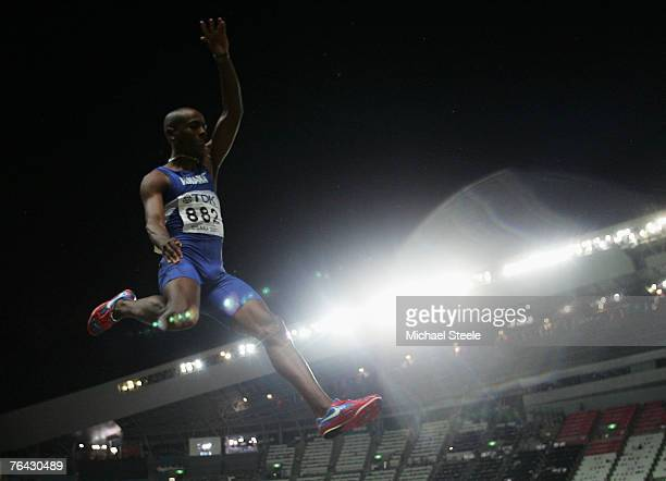 Irving Saladino of Panama competes during the Men's Long Jump Final on day six of the 11th IAAF World Athletics Championships on August 30, 2007 at...