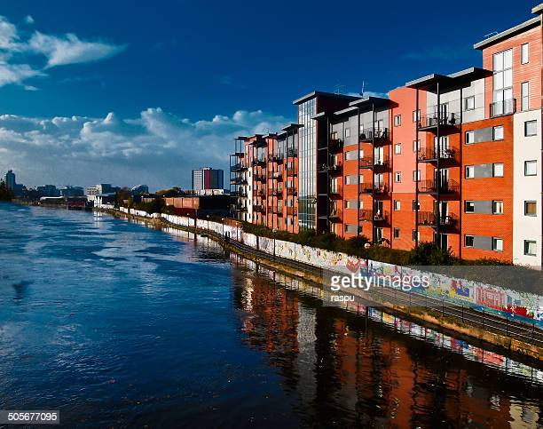 irwell river in manchester - salford stock pictures, royalty-free photos & images