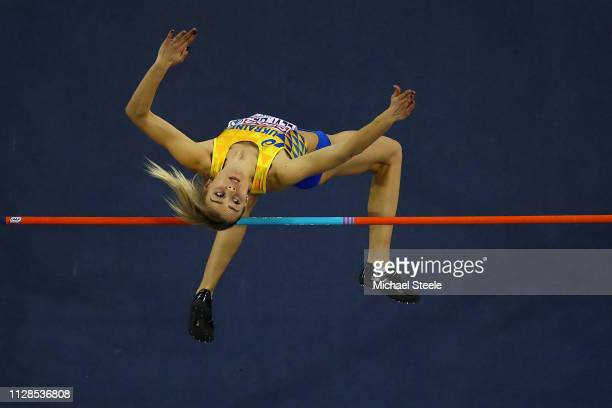 Iryna Herashchenko of Ukraine in action during the final of the women's high jump on day three of the 2019 European Athletics Indoor Championships at...