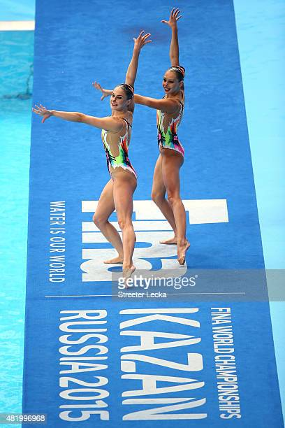 Iryna Limanouskaya and Veronika Yesipovich of Belarus compete in the Women's Duet Technical Preliminary Synchronised Swimming on day two of the 16th...