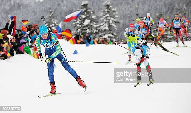 Iryna Varvynets of the Ukraine in action during the Women's 4x 6km relay on Day 5 of the IBU Biathlon WOrld Cup Ruhpolding on January 17 2016 in...