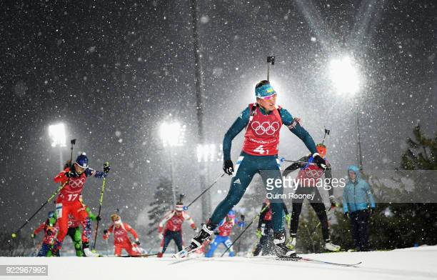 Iryna Varvynets of Ukraine competes during the Women's 4x6km Relay on day 13 of the PyeongChang 2018 Winter Olympic Games at Alpensia Biathlon Centre...