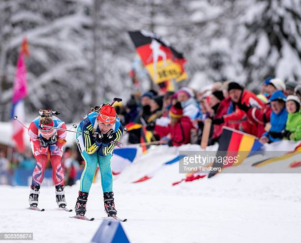 Iryna Varvynets of Ukraine in action during the Women 4 x 5 km relay Biathlon race at the IBU Biathlon World Cup Ruhpolding on January 17 2016 in...