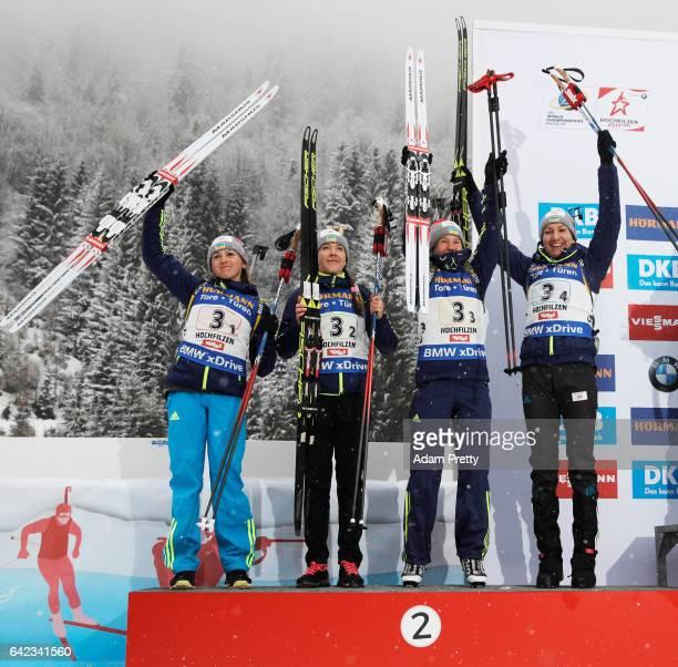 Iryna Varvynets Yulia Dzhima Anastasiya Merkushyna and Olena Pidhrushna of the Ukraine celebrate after winning the Silver medal in the Women's 4x 6km...