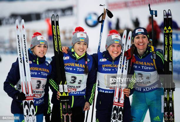 Iryna Varvynets Yulia Dzhima Anastasiya Merkushyna and Olena Pidhrushna of the Ukraine celebrate after winning the Silver medal in the Women's 4x 6km...