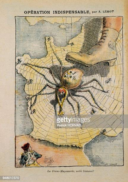 ENEMY is a XIXth century caricature by LEMOT This caricature illustrates the author's aversion to FreeMasonry represented by a spider weaving its web...