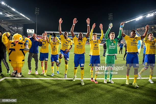 Is celebrating after the Jupiler Pro League match between Sint-Truiden VV and Sporting Lokeren in Sint-Truiden, Belgium.