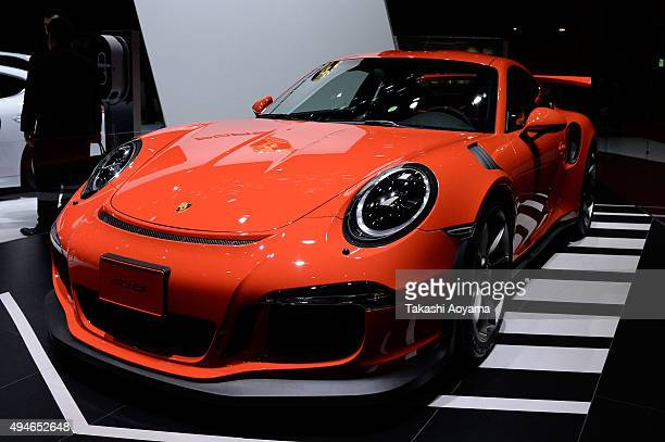 GT3RS is displayed at the Porsche booth during the media preview ahed of The 44th Tokyo Motor Show 2015 at Tokyo Big Sight on October 28 2015 in...