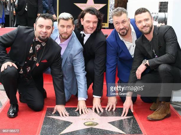 NSYNC is honored with a star on the Hollywood Walk of Fame on April 30 2018 in Hollywood California